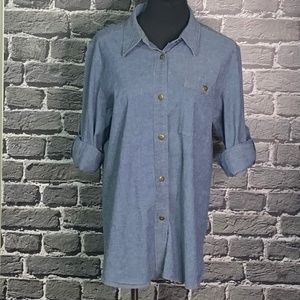 TravelSmith Denim Button Front Blouse Wms Sz L